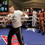 "Glen Tapia - Fighters featured on the pay-per-view undercard of Canelo vs. Khan, held an open workout for fans at the MGM Grand Hotel & Restort today. Co-main event David Lemieux (34-3, 31 KOs), and Glen ""Jersey Boy"" Tapia (23-2, 15 KOs) who will meet in a 10-round middleweight fight; Mauricio ""El Maestro"" Herrera (22-5, 7 KOs) who takes on East Los Angeles' undefeated star Frankie ""Pitbull"" Gomez (20-0, 13 KOs) in a 10-round welterweight fight; and Brazilian star Patrick Teixeira (26-0, 22 KOs) and Curtis Stevens (27-5, 20 KOs) who will open up the Pay-Per-View telecast in a 10-round career-defining middleweight bout."
