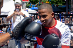 """Felix Verdejo - The boxing gem of Puerto Rico, undefeated No. 2 world-rated lightweight contender FELIX """"El Diamante"""" VERDEJO, brought some Bronx cheer when he takes a day away from his Puerto Rico-based training camp to press the flesh and throw some leather for his fans in New York."""