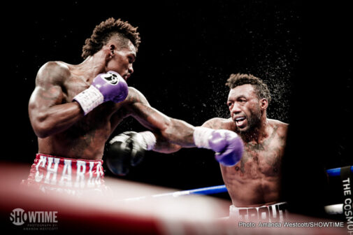 "Austin Trout, Erislandy Lara, Jermall Charlo, Jermell Charlo, John Jackson, Vanes Martirosyan - On a night Erislandy ""The American Dream"" Lara successfully defended his WBA Super Welterweight Championship with a hard-fought 12-round unanimous decision over Vanes ""The Nightmare"" Martirosyan, undefeated brothers Jermall and Jermell Charlo, of Houston, became the first twins in boxing history to hold world titles in the same weight class."