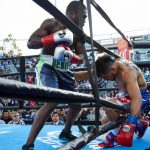 """Andre Berto, Victor Ortiz - (Photo Credit: Suzanne Teresa/Premier Boxing Champions) Carson, CA (April 30, 2016) - In front a packed house of 7,760 and a nationally televised PBC on FOX and FOX Deportes audience, Andre Berto, (31-4, 24 KOs) turned back the clock and successfully gained his revenge over """"Vicious"""" Victor Ortiz, 31-6-2 (24 KOs) with a stunning fourth-round knockout in a rematch of their 2011 """"Fight of the Year"""" on Saturday night at Southern California's legendary open-air boxing venue StubHub Center."""
