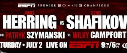 Jamel Herring battles Denis Shafikov on 7/2