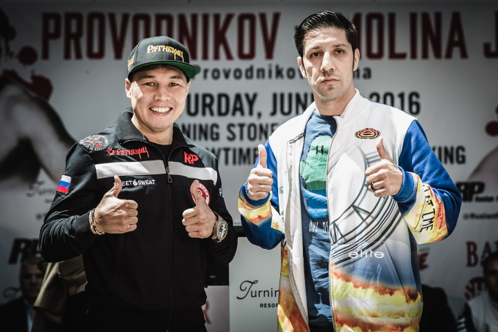 """Ruslan Provodnikov - (Photos credit: Amanda Westcott/SHOWTIME) VERONA, N.Y. (June 9, 2016) – The six fighters, including main eventers Ruslan """"The Siberian Rocky"""" Provodnikov and John """"The Gladiator"""" Molina, who will compete on this Saturday's SHOWTIME CHAMPIONSHIP BOXING® tripleheader live on SHOWTIME® (9 p.m. ET/6 p.m. PT), participated in the final press conference Thursday at Turning Stone Resort Casino here."""