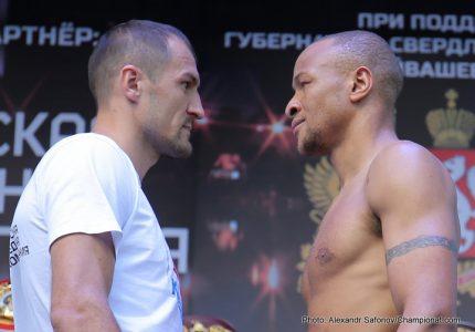 Sergey Kovalev: 174.6 lbs. –  Isaac Chilemba: 174.8 lbs.  – Weights