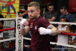 Carl Frampton, Leo Santa Cruz -  Undefeated Irish star Carl Frampton was officially welcomed to the United States and New York City Thursday by former world champion and Brooklyn-native Paulie Malignaggi before Frampton held a media workout at Gleason's Gym as he prepares for his matchup with featherweight world champion Leo Santa Cruz taking place Saturday, July 30 live on SHOWTIME from Barclays Center.