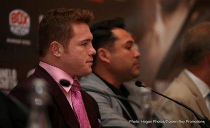 Canelo Alvarez, Former Two-Division World Champion during the press conference