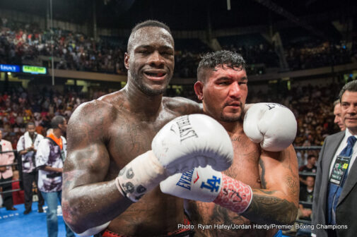 Chris Arreola, Deontay Wilder - (Photo Credit: Ryan Hafey/Jordan Hardy/Premier Boxing Champions) WBC heavyweight champion Deontay Wilder (37-0, 36 KOs) beat #9 WBC Chris Arreola (36-5-1, 31 KOs) by an 8th round stoppage tonight in their fight on Premier Boxing Champions on Fox Sports from the Legacy arena in Birmingham, Alabama. Arreola had taken a pounding from Wilder and his corner decided that he'd had enough after the round ended. Arreola's left eye was nearly closed, and he had a cut near the bridge of his nose.