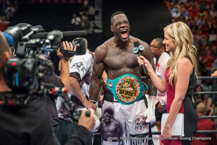 Deontay Wilder - WBC heavyweight ruler Deontay Wilder is all for taking a fight that he believes would see him add the WBO belt to his trophy cabinet. Wilder, who must first return to action for his first fight since last July, against Polish contender Andrzej Wawrzyk on February 25, says he very much wants to fight recently crowned WBO champ Joseph Parker in April.