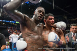"Chris Arreola, Deontay Wilder - (Photo credit: Ryan Hafey/Jordan Hardy/Premier Boxing Champions) BIRMINGHAM, AL (July 16, 2016) - Undefeated heavyweight world champion Deontay ""The Bronze Bomber"" Wilder (37-0, 36 KOs) finished three-time world title challenger Chris ""The Nightmare"" Arreola (36-5-1, 31 KOs) after the eighth round of the main event of Premier Boxing Champions (PBC) on FOX and FOX Deportes from Legacy Arena at the BJCC in Birmingham, Alabama."