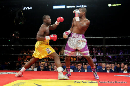 "Adonis Stevenson, Thomas Williams Jr - (Photo credit: Dave Nadkarni/Premier Boxing Champions) WBC light-heavyweight king Adonis Stevenson last night retained his belt, the one he won in crushing fashion against Chad Dawson back in June of 2013, for the seventh time and what a thrilling fight he and his challenger Thomas Williams Junior put on in Quebec City. A sizzling slugfest the type fans love, Stevenson's 4th-round KO over Williams Jr gave us plenty of terrific exchanges, switches in momentum and then, courtesy of ""Superman's"" explosive left hand, a KO of The Year candidate."