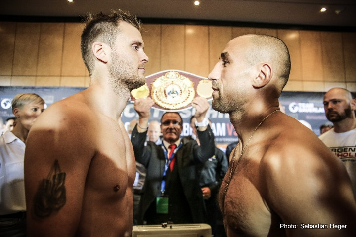 Arthur Abraham, Tim-Robin Lihaug - 36-year-old super middleweight contender Arthur Abraham (45-5, 30 KOs) beat little known bottom dweller Tim-Robin Lihaug (15-2, 8 KOs) by an eighth round stoppage tonight in a showcase/confidence booster type of fight at the Max Schmeling Halle, Prenzlauer Berg, Berlin, Germany.