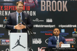 """Gennady Golovkin, Kell Brook - Boxing Superstar and Unified Middleweight World Champion Gennady """"GGG"""" Golovkin, (35-0, 32 KO's) and Undefeated British Boxing Star and Welterweight World Champion """"The Special One"""" Kell Brook, (36-0, 25 KO's) hosted a massive turnout of New York City sports media on Thursday to formally announce their highly anticipated, international clash on Saturday, September 10 at The 02 in London, England."""