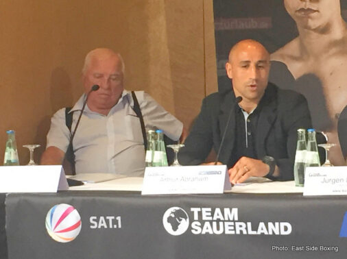 Anthony Ogogo, Arthur Abraham, Giovanni De Carolis, Tim Lihaug, Tyron Zeuge - Tim-Robin Lihaug (15-1, 8 KOs) and his team declared war on Arthur Abraham (44-5, 29 KOs) at today's final pre-fight press conference ahead of their WBO International Super Middleweight title fight on Saturday night at the Max-Schmeling-Halle in Berlin.