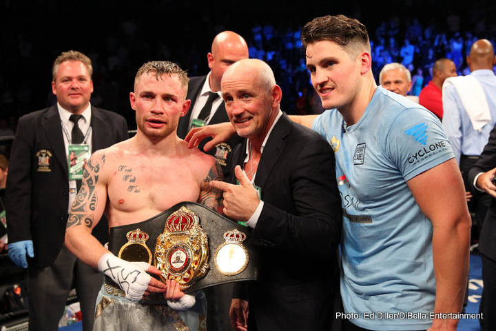 """Carl Frampton - Irish warrior Carl Frampton, now a two-weight world champion, arrived as a genuine star, maybe even a future superstar, with his thrilling FOTY candidate of a win over Leo Santa Cruz. The new WBA featherweight king overcame odds that were against him as he won in New York. Now, with so many big fight options open to him, """"The Jackal"""" can reap the rewards of his success as he searches for more."""