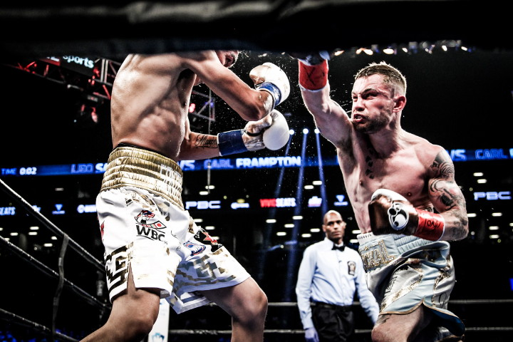 "Carl Frampton, Elio Rojas, Leo Santa Cruz, Mikey Garcia - (Photo credit: Amanda Westcott/SHOWTIME) BROOKLYN (July 31, 2016) – In a possible ""Fight of the Year"" showdown between two undefeated fighters, Carl Frampton edged Leo Santa Cruz in a firefight to capture the WBA Featherweight World Championship in the main event of SHOWTIME CHAMPIONSHIP BOXING® Saturday in front of 9,062 fans at the electric Barclays Center in Brooklyn."