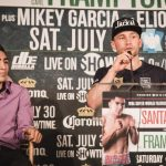 Leo Santa Cruz, Mikey Garcia - (Photo credit: Amanda Westcott/SHOWTIME) BROOKLYN (July 28, 2016) - Undefeated three-division world champion Leo Santa Cruz and undefeated former unified 122-pound world champion Carl Frampton went face-to-face Thursday at the final press conference before their featherweight world title clash that headlines a SHOWTIME CHAMPIONSHIP BOXING triple-header this Saturday, July 30 live from Barclays Center in Brooklyn.