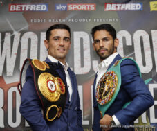 """Anthony Crolla, Jorge Linares - WBA Lightweight World Champion Anthony """"Million Dollar"""" Crolla (31-4-3, 13 KOs), and WBC Lightweight World Champion Jorge """"El Niño de Oro"""" Linares (40-3, 27 KOs), hosted a press conference today at Hotel Football in Old Trafford, to formally announce the blockbuster world championship unification fight for the WBA and WBC Diamond World and Ring Magazine Lightweight Championships at the Manchester Arena on September 24, 2016, live on Sky Sports."""