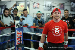 "Liam Smith, Saul ""Canelo"" Alvarez - Former two-division world champion Canelo Alvarez (47-1-1, 33 KOs) today hosted a media workout at the House of Boxing in San Diego ahead of his clash with WBO Junior Middleweight World Champion Liam ""Beefy"" Smith (23-0-1, 13 KOs) on Mexican Independence Day Weekend on September 17 at AT&T Stadium, home of the Dallas Cowboys, in Arlington, Texas."