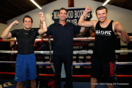 """Carlos Cuadras, Roman Gonzalez - Undefeated WBC Super Flyweight World Champion Carlos """"Principe"""" Cuadras, (35-0, 27KO's) and all-action, former world title challenger Jesus """"Renuente"""" Soto Karass, (28-10-4, 18KO's), appeared at the Maywood Boxing Gym to host the Los Angeles media on Thursday. They were joined by their trainers, Rudy Hernandez and Jose Luis Sorroza, respectively, and Tom Loeffler, Managing Director of K2 Promotions."""