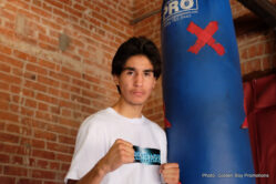 """Oscar Riojas, Vyacheslav Shabranskyy - LOS ANGELES (Aug. 3, 2016) - Golden Boy Promotions fighters set to demonstrate their skills in the ring at the August 5 and August 19 editions of LA FIGHT CLUB today hosted a media workout at C M Boxing Stables in the City of Alhambra. Headlining the August 5 card, Carlos """"The Solution"""" Morales, Angel Bojado, Joet Gonzalez, Pablo """"The Shark"""" Rubio, Jr., and Jousce Gonzalez, were in attendance as well as Vyacheslav """"Lion Heart - Chingonsky"""" Shabranskyy, who is set to headline the August 19 edition along with stable mates Ivan """"Striker"""" Delgado, Alexis Rocha, and David Mijares."""