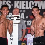 "Miguel Flores, Ryan Kielczweski - This evening, at Verona's Turning Stone Casino, a  promising featherweight  named Miguel Flores (20-0,9KO's) will face against another prospect with some talent, ""The Polish Prince"" Ryan Kielczweski (25-1,7 KO's), in the main event of Premier Boxing Champion's latest card. Based on what I've seen of these two, this seems like a good, even match-up between two similarly talented boxers. Of equal importance, it's got the potential to be fun to watch given their respective styles. Flores appears to be the superior technician, but Kielcweski seems to have the edge in terms of speed and mobility. Neither of them possesses world ending power, but they've both proved themselves to be willing to engage in the trenches when required, and capable of returning fire after getting tagged."