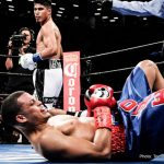 Elio Rojas - On Saturday night, July 30, 2016, twenty-eight year old professional boxer Mikey Garcia returned to the ring at the Barclays Center in Brooklyn, New York, after a two and a half year layoff due to a contract dispute with his former promotional company, Top Rank. On the Showtime televised broadcast, Garcia knocked down former WBC World Featherweight Champion Elio Rojas four times, before referee Eddie Claudio called an end to the fight at 2:02 of Round 5. Following Saturday's TKO win, Garcia's record improved to 35-0, with 29 KOs, while Rojas' record dropped to 24-3, with 14 KOs. Garcia-Rojas was scheduled for ten rounds in the junior welterweight division as the co-main event on the fight card promoted by DiBella Entertainment, in association with Cyclone Promotions, and presented by Premier Boxing Champions. In the main event, Carl Frampton won the WBA Super World Featherweight Title by defeating Leon Santa Cruz by majority decision.