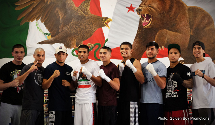 """Oscar Riojas - LOS ANGELES (Aug. 3, 2016) - Golden Boy Promotions fighters set to demonstrate their skills in the ring at the August 5 and August 19 editions of LA FIGHT CLUB today hosted a media workout at C M Boxing Stables in the City of Alhambra. Headlining the August 5 card, Carlos """"The Solution"""" Morales, Angel Bojado, Joet Gonzalez, Pablo """"The Shark"""" Rubio, Jr., and Jousce Gonzalez, were in attendance as well as Vyacheslav """"Lion Heart - Chingonsky"""" Shabranskyy, who is set to headline the August 19 edition along with stable mates Ivan """"Striker"""" Delgado, Alexis Rocha, and David Mijares."""