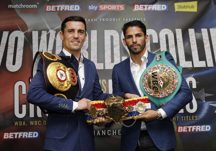 """Jorge Linares - WBA Lightweight World Champion Anthony """"Million Dollar"""" Crolla (31-4-3, 13 KOs), and WBC Lightweight World Champion Jorge """"El Niño de Oro"""" Linares (40-3, 27 KOs), hosted a press conference today at Hotel Football in Old Trafford, to formally announce the blockbuster world championship unification fight for the WBA and WBC Diamond World and Ring Magazine Lightweight Championships at the Manchester Arena on September 24, 2016, live on Sky Sports."""