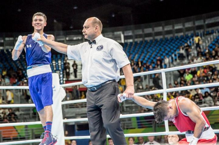Nico Hernandez -  The drought is officially over for the U.S. Men's Boxing Team. Light flyweight Nico Hernandez (Wichita, Kansas) clinched a bronze medal with his third unanimous decision victory of the 2016 Olympic Games on Wednesday night at Riocentro Pavilion 6. Hernandez's win advances him on to a semifinal match-up and secures his berth on the podium. Light welterweight Gary Antuanne Russell (Capitol Heights, Md.) made it an undefeated night for the American squad with a unanimous decision victory in his Olympic debut.