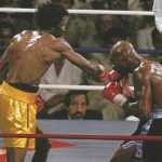 """Thomas Hearns - Once again, Marvellous Marvin Hagler and Thomas """"Hitman"""" Hearns would box under the bright lights of Las Vegas, this time together, on the same night, against dangerous opposition. It was almost a full year after these two warriors had gone to hell and back against one other, and the grand plan for promoter Bob Arum was to set up a Hagler-Hearns II. Fans got two thrilling fights for their money this night in 1986 - one ending via violently quick KO, the other being an absolute war of attrition - as a rematch of the greatest fight in history was in the works."""