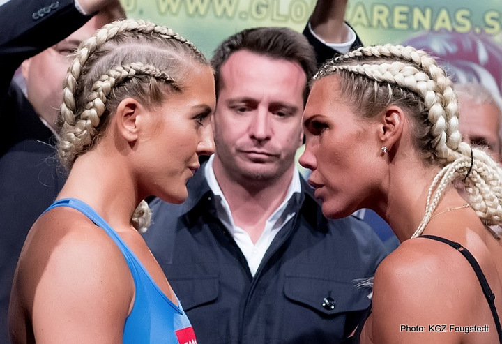 Mikaela Lauren - Mikaela Laurén (27-1, 12 KOs) and Klara Svensson (16-1, 5 KOs) both made weight ahead of their grudge match tomorrow night at the Hovet in Stockholm.