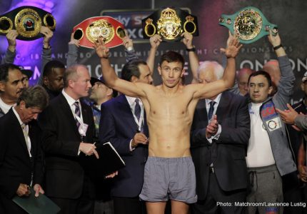"""Face-to-Face at the weigh-in: Brook says he could """"see fear"""" in Golovkin's eyes"""