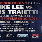 Mike Lee -  Chris Traietti (21-3, 17 KOs) takes on undefeated Mike Lee (17-0, 10 KOs) in a ten round bout at the UIC Forum in Chicago, Illinois on September 30th for the vacant USBA light heavyweight title. This fight will be televised on the CBS Sports Network.
