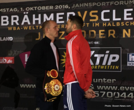 Juergen Braehmer, Nathan Cleverly - Juergen Braehmer (48-2, 35 KOs) and Nathan Cleverly (29-3, 15 KOs) both made weight today ahead of their WBA World Light Heavyweight title contest tomorrow night at the Jahnsportforum in in Neubrandenburg, Germany, as did the undercard fighters.