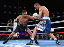 """Andre Ward, Sergey Kovalev -  In front of a packed house at T-Mobile Arena in Las Vegas, Nevada and live on HBO Pay-Per-View, Andre """"S.O.G."""" Ward (31-0, 15 KOs)* won a close unanimous decision victory over Sergey """"Krusher"""" Kovalev (30-1-1, 26 KOs) to steal the WBO, WBA and IBF Light Heavyweight World Titles in a decision that most ringside media thought went the wrong way."""