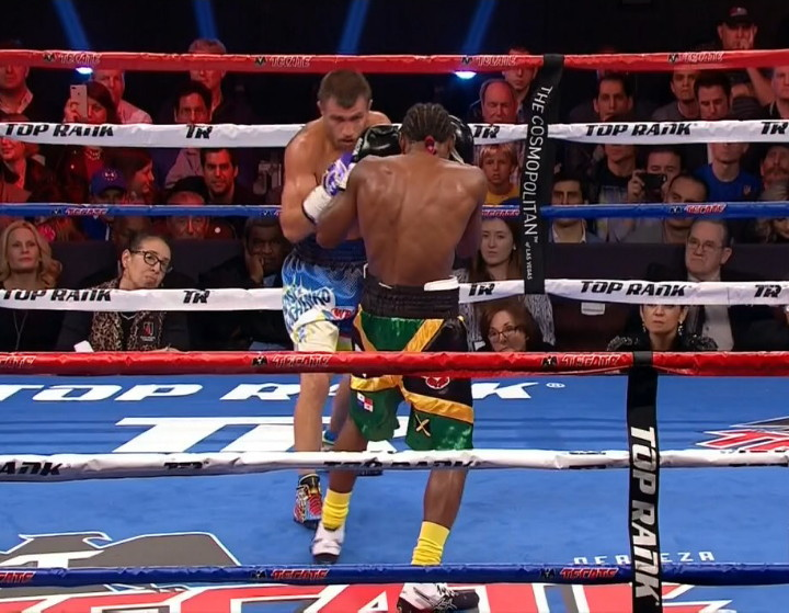 Nicholas Walters - In a real surprising outcome, WBO super featherweight champion Vasyl Lomachenko (7-1, 5 KOs) got former featherweight champion Nicholas Walters (26-1-1, 21 KOs) to quit after seven rounds on Saturday night at the Cosmopolitan of Las Vegas. Walters looked befuddled all night long, but especially in rounds 4 thru 7.