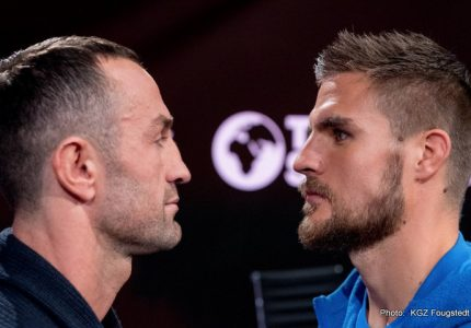 Erik Skoglund vs Timy Shala on Friday night at the Rosvalla Arena in Nyköping