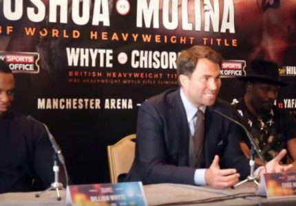 Chisora and Whyte come face to face at presser, exchange barbs, both promise KO victory