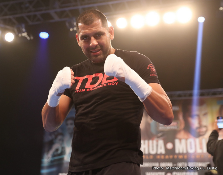 """Eric Molina - Back in April of 2016, heavyweight contender Eric Molina travelled to Poland to fight local hero and former two-weight world champ Tomasz Adamek. Just under ten rounds later, """"Drummer Boy"""" Molina had pulled off the biggest win of his boxing career – and with the TKO, a shot at IBF heavyweight champ Anthony Joshua."""