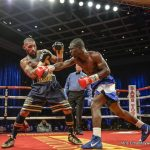 """Ashley Theophane -  Ashley """"Treasure"""" Theophane (40-7-1, 11KO's ) faced Yakabu Amidu (19-9-2, 17 KO's ) in 10 rounds of action in the main event of Mayweather Promotions' Sin City Showdown Friday night. Theophane came out focused and on cue with his game plan, he was able to deflect most of Amidu's punches and break his opponent down. It was a steady 10 rounds of action, Theophane was able to break Amidu down with consistent jabs and body punches aiming consistently at his target, round after round. Amidu struggled to read Theophane, which ultimately led to Theophane to his 40th win, by way of unanimous decision."""