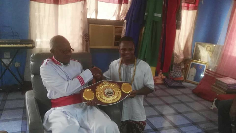Isaac Dogboe - Newly crowned WBO International super bantamweight champion, Isaac 'Royal Storm' Dogboe wasted no time at all on arrival back in Ghana to give thanks to his God for the latest triumph in the ring.