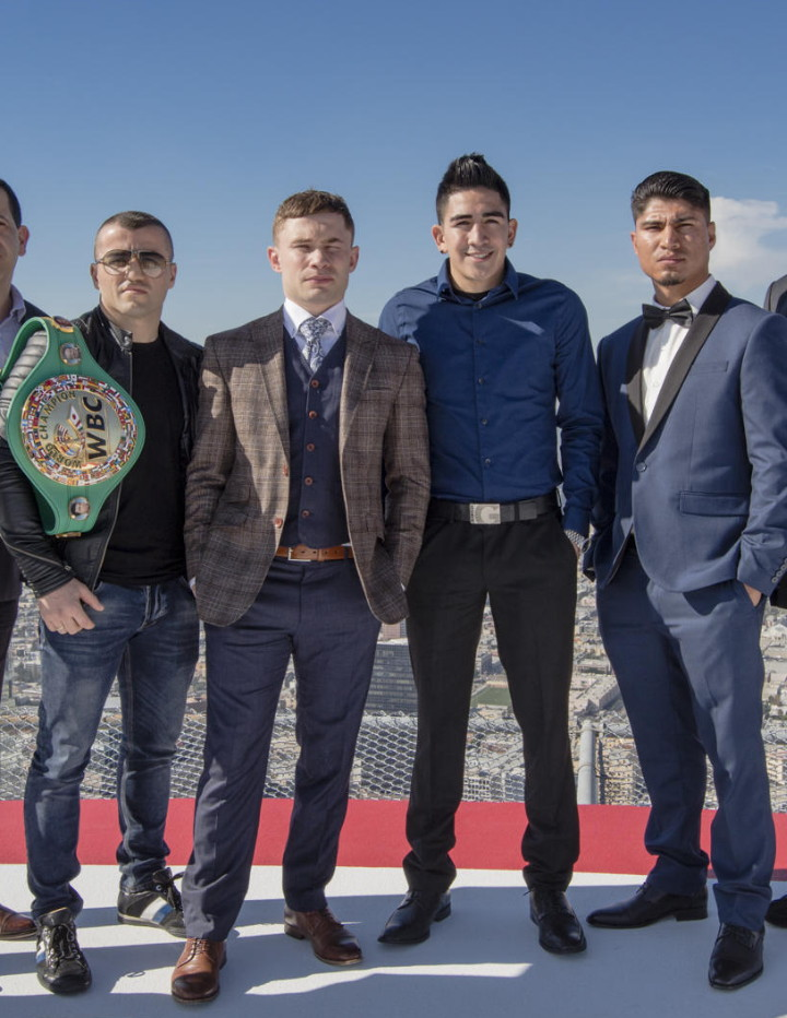 Carl Frampton, Dejan Zlaticanin, Leo Santa Cruz, Mikey Garcia - Featherweight world champion Carl Frampton and former three-division world champion Leo Santa Cruz went face-to-face in Los Angeles Thursday along with lightweight world champion Dejan Zlaticanin and undefeated former two-division world champion Mikey Garcia in advance of their respective showdowns Saturday, January 28 in a Premier Boxing Champions event at the MGM Grand Garden Arena in Las Vegas and live on SHOWTIME.