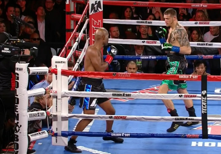 Bernard Hopkins, Joe Smith Jr. - Bernard Hopkins, (55-8-2, 32 KOs) saw his career end in a less than glorious way on Saturday night in getting knocked out of the ring in the 8th round in losing a TKO to knockout artist Joe Smith Jr. (23-1, 19 Kos) on HBO Championship Boxing from the Forum in Inglewood, California.