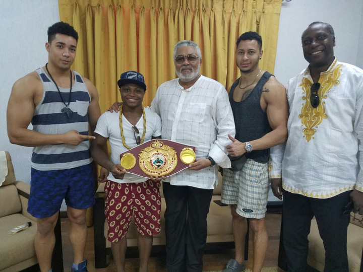 Isaac Dogboe - Former Ghana president, Jerry Rawlings has urged undefeated boxer, Isaac 'Royal Storm' Dogboe (16-0, 10 KOs) to follow in the footsteps of the legendary Azumah Nelson by setting his own standards and targets in order to become a great champion.
