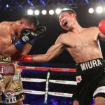 "Takashi Miura - In a spectacular slugfest performance and strong Fight of the Year candidate, the evening's co-feature had Takashi Miura (31-3-2, 24 KOs) defeat Mexican warrior, and number two WBC rated Miguel ""Mikey"" Roman (56-12, 43 KOs) with a 12th round stoppage in their super featherweight battle."