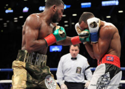 Badou Jack, Gervonta Davis, James DeGale, Jose Pedraza - James DeGale and Badou Jack fought their hearts out tonight in a unification fight at 168, but the two of them had to leave the ring after fighting to a 12 round draw at the Barclays Center in Brooklyn, New York. Both guys hit the canvas in the round. WBC super middleweight champion Jack was down in the 1st round from a left to the head.