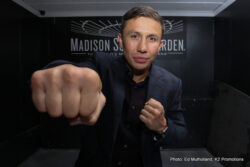 "Daniel Jacobs, Gennady Golovkin -  Unified Middleweight World Champion (WBC, WBA, IBF, IBO) GENNADY ""GGG"" GOLOVKIN (36-0, 33 KO's) and WBA Middleweight Champion and Mandatory Challenger DANIEL ""THE MIRACLE MAN"" JACOBS (32-1, 29 KO's) hosted a massive contingent of Southern California media on Wednesday in Downtown Los Angeles to promote their highly anticipated showdown set for Saturday, March 18 at ""The Mecca of Boxing"", Madison Square Garden. The championship event will be produced and distributed live by HBO Pay-Per-View beginning at 9:00 p.m. ET/6:00 p.m. PT."