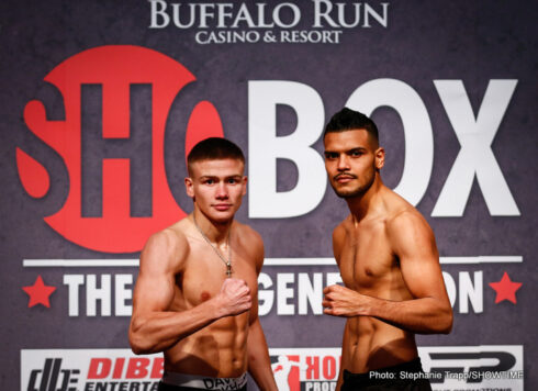 """Abel Ramos, Ivan """"The Beast"""" Baranchyk - Undefeated super lightweight powerhouse Ivan """"The Beast"""" Baranchyk and once-beaten Abel Ramos weighed-in on Thursday for their 10-round main event tomorrow/Friday on ShoBox: The New Generation live on SHOWTIME® (10:05 p.m. ET/PT, delayed on the West Coast) from Buffalo Run Casino & Resort in Miami, Okla."""