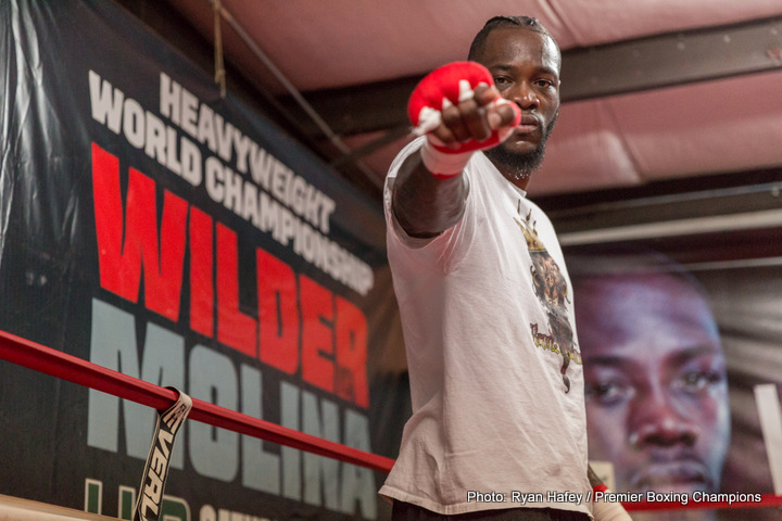 "Deontay Wilder - WBC heavyweight king Deontay Wilder is in a mood to not only break opponents, and their bones, but also world records. Wilder, currently unbeaten with impressive 39-0 numbers (all but one of his wins coming via stoppage) says he can ""easily"" top Floyd Mayweather's astonishing 50-0 pro record; Floyd actually besting heavyweight immortal Rocky Marciano's magic 49-0 number this year (some say with an asterisk firmly placed alongside the 50-0 due to the fact that Mayweather picked up his ""final"" win against a boxing novice)."