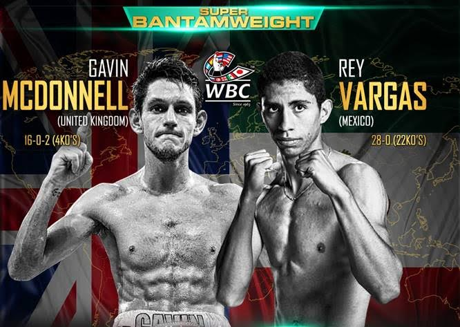 Luke Campbell - Using his hand speed and punching power advantage, #1 WBC 122lb contender Ray Vargas (29-0, 22 KOs) boxed his way to a 12 round majority decision tonight over #2 WBC Gavin McDonnell (16-1-2, 4 Kos) to win the vacant WBC super bantamweight title at the Hull Ice Arena in Hull, England. It was a nice effort from both fighters. McDonnell came up short based on the speed and pinpoint accuracy of the 26-year-old Mexican Vargas.