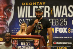 Deontay Wilder, Gerald Washington - Heavyweight world champion Deontay Wilder and unbeaten Gerald Washington went face-to-face Thursday at the final press conference before their primetime showdown that headlines Premier Boxing Champions on FOX and FOX Deportes this Saturday, February 25 from Legacy Arena at the BJCC in Birmingham, Alabama.